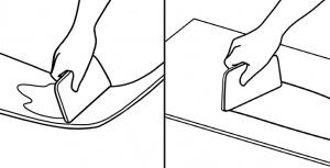 pemasangan lantai vinyl langkah 3 oleskan perekat lem