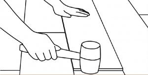 pemasangan lantai vinyl langkah 6 ratakan dengan palu karet