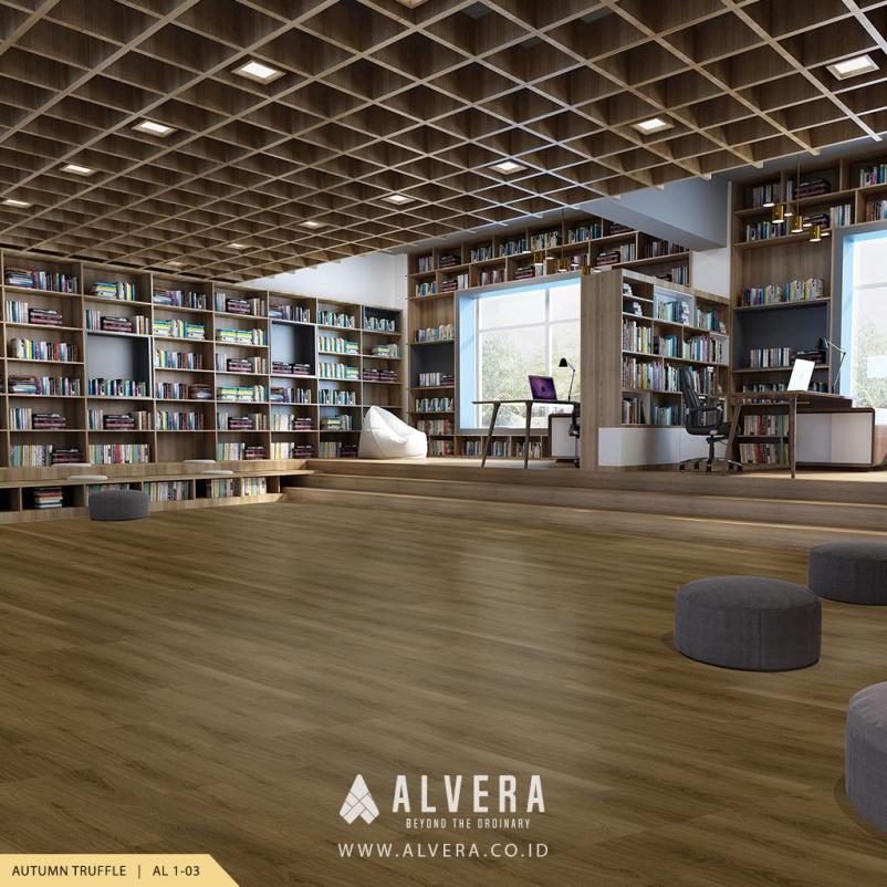 alvera autumn truffle lantai vinyl motif kayu pada perpustakaan