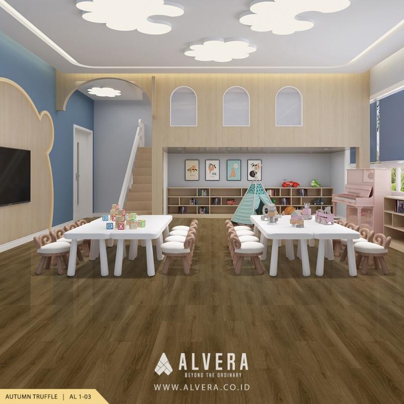 alvera autumn truffle lantai vinyl motif kayu pada ruang bermain
