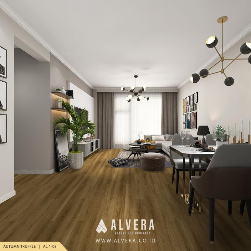 alvera autumn truffle lantai vinyl motif kayu pada ruang keluarga