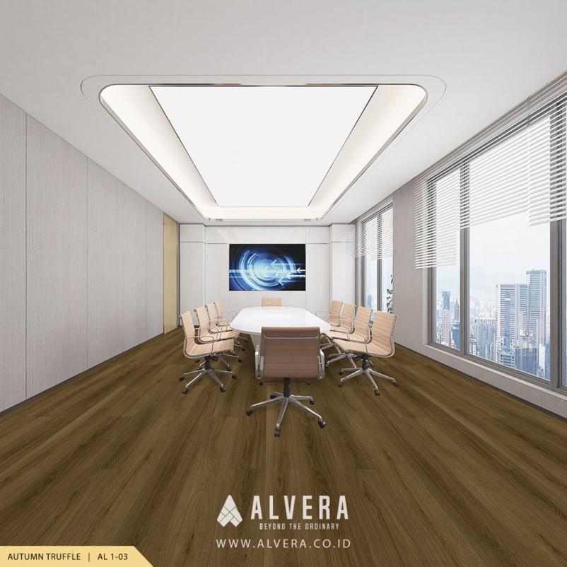 alvera autumn truffle lantai vinyl motif kayu pada ruang meeting kantor