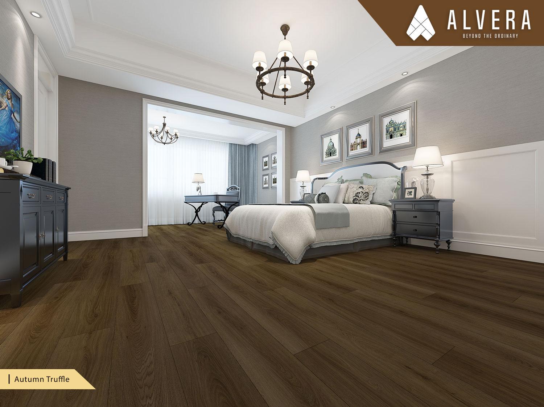 alvera autumn truffle lantai vinyl motif kayu alami pada kamar tidur