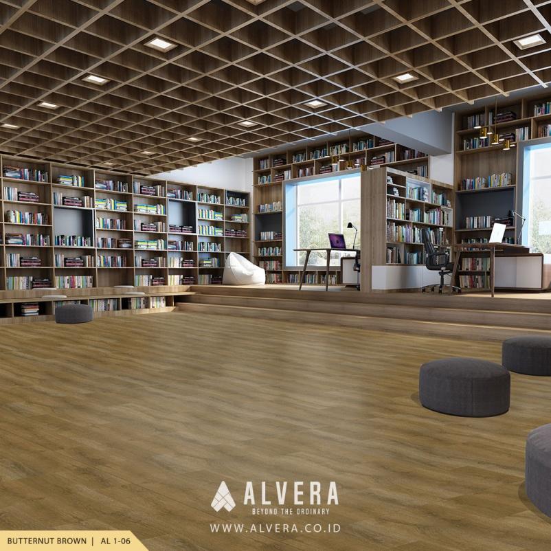 alvera butternut brown lantai vinyl motif kayu natural untuk perpustakaan