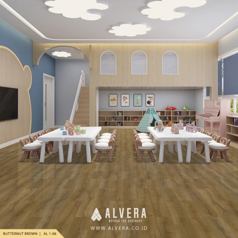 alvera butternut brown lantai vinyl motif kayu natural untuk ruang bermain