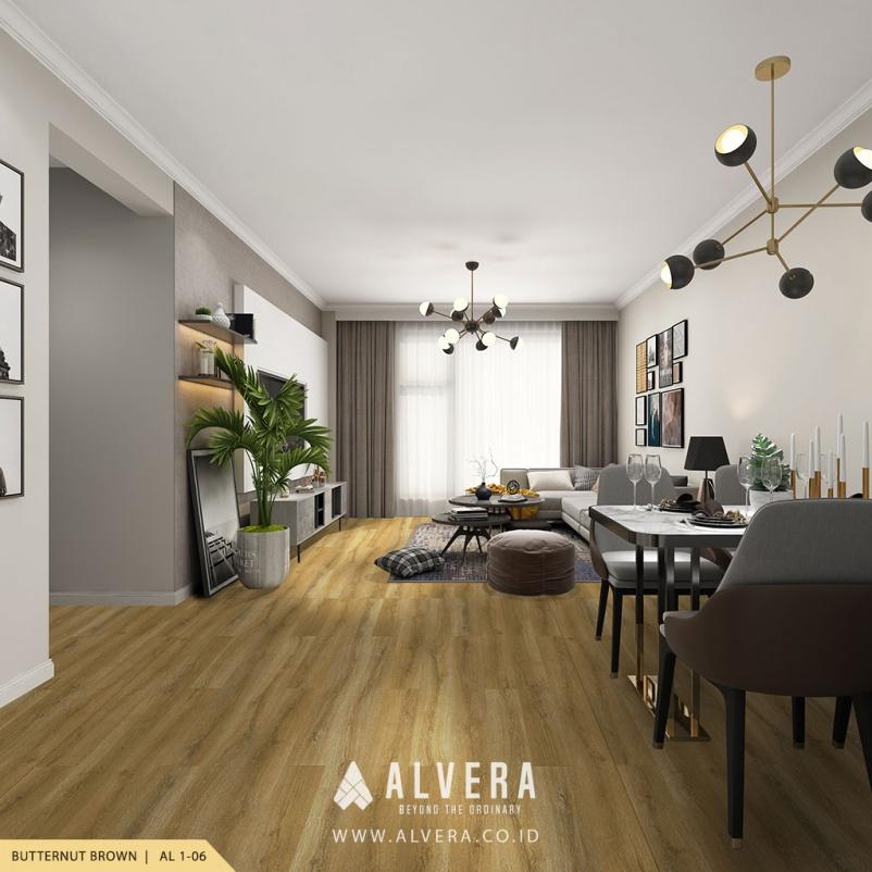 alvera butternut brown lantai vinyl motif kayu natural untuk ruang tamu