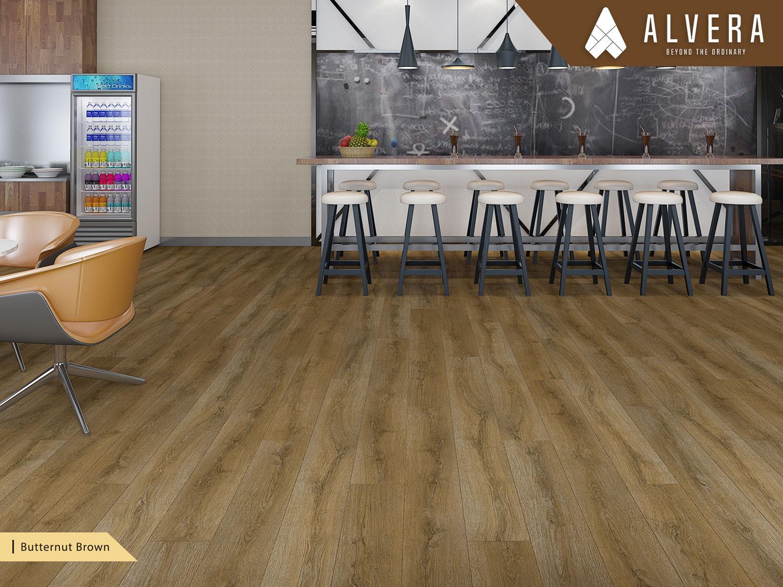 alvera butternut brown lantai vinyl motif kayu alami pada cafe restoran