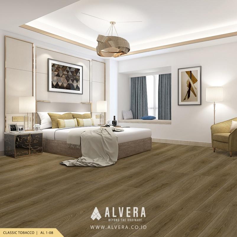 alvera classic tobacco vinyl lantai kayu untuk kamar tidur