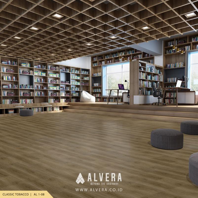 alvera classic tobacco vinyl lantai kayu untuk perpustakaan