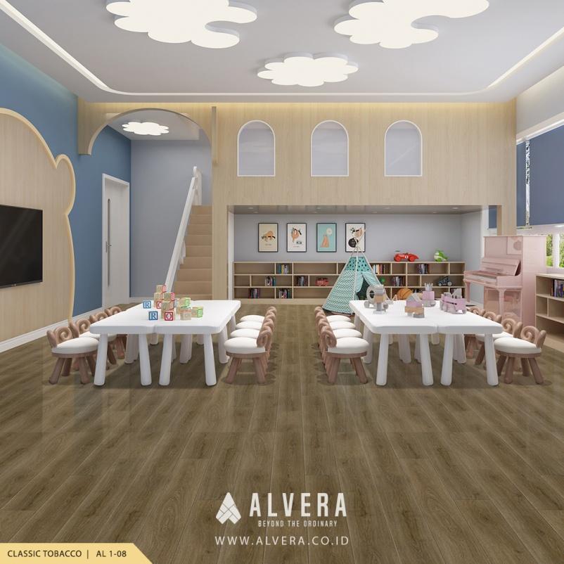 alvera classic tobacco vinyl lantai kayu untuk ruang bermain