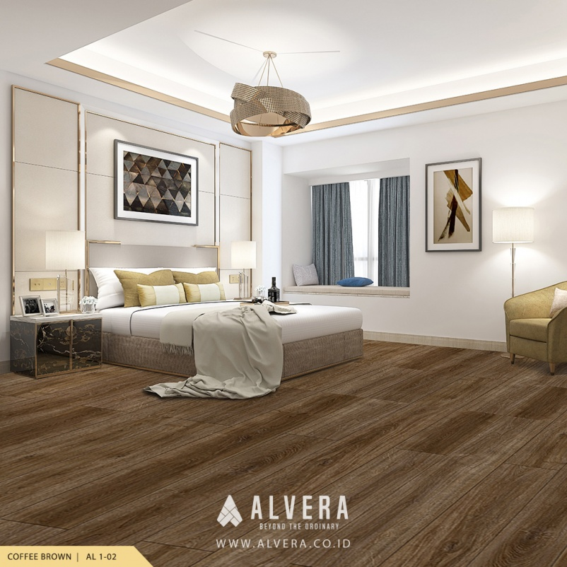 alvera coffee brown lantai vinyl motif kayu cokelat pada kamar tidur