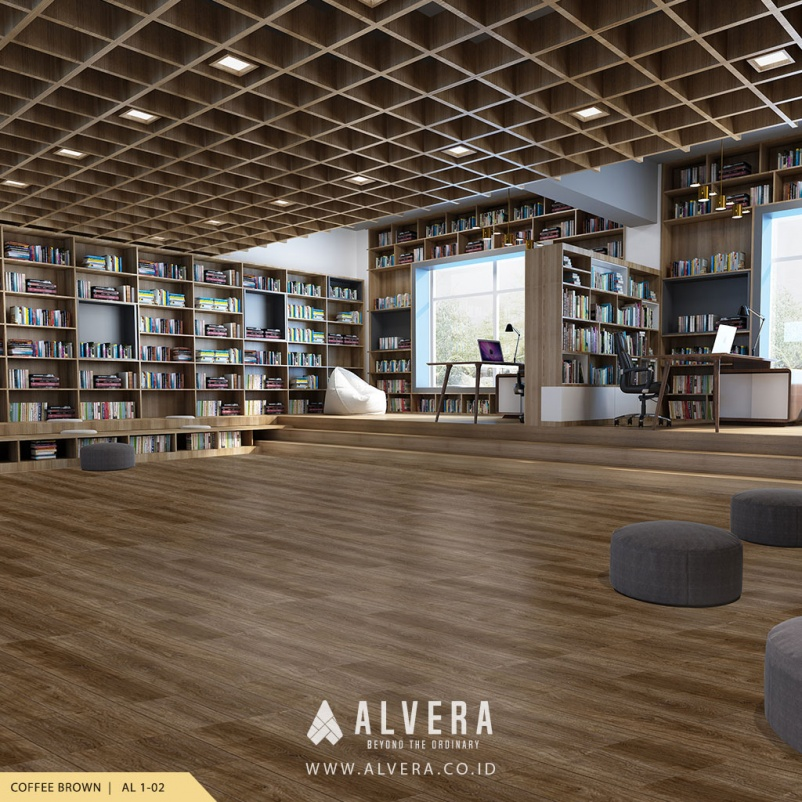 alvera coffee brown lantai vinyl motif kayu cokelat pada perpustakaan