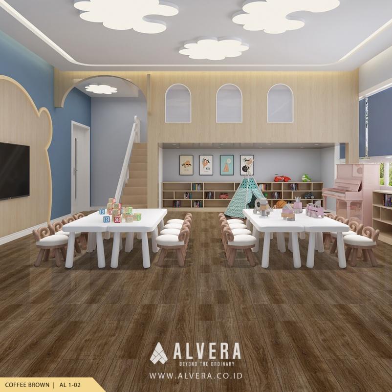 alvera coffee brown lantai vinyl motif kayu cokelat pada preschool pregroup