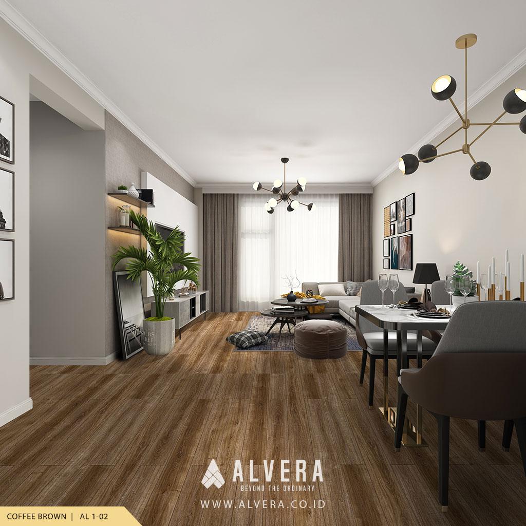 alvera coffee brown lantai vinyl motif kayu cokelat pada ruang keluarga
