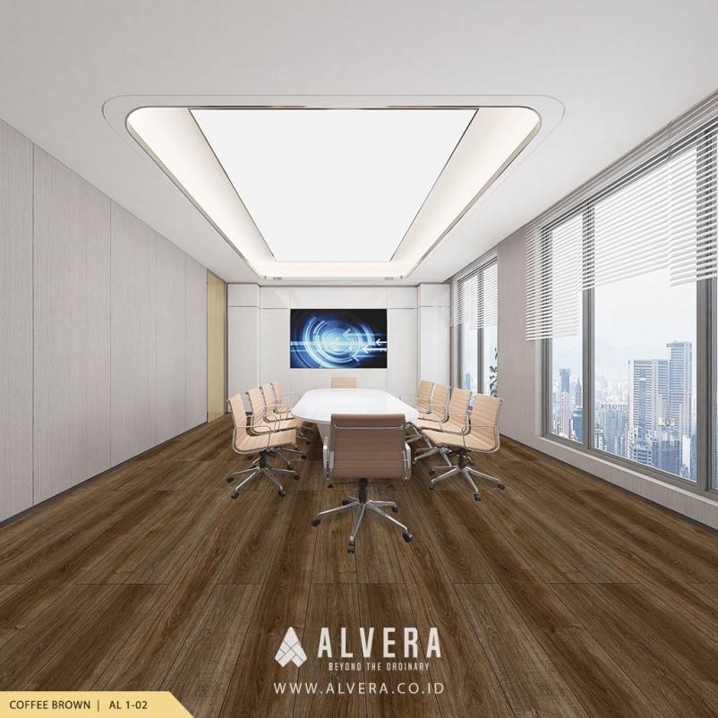 alvera coffee brown lantai vinyl motif kayu cokelat pada ruang meeting kantor