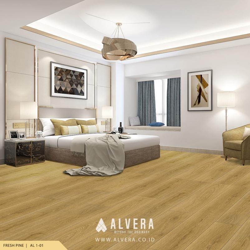 alvera fresh pine lantai vinyl motif kayu terang pada kamar tidur