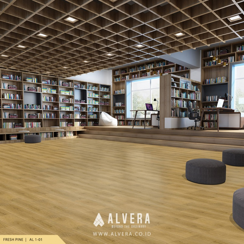 alvera fresh pine lantai vinyl motif kayu terang pada perpustakaan