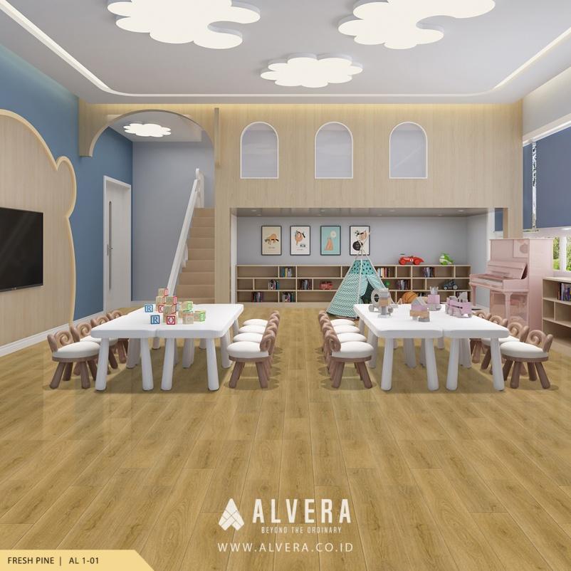 alvera fresh pine lantai vinyl motif kayu terang pada preschool pregroup