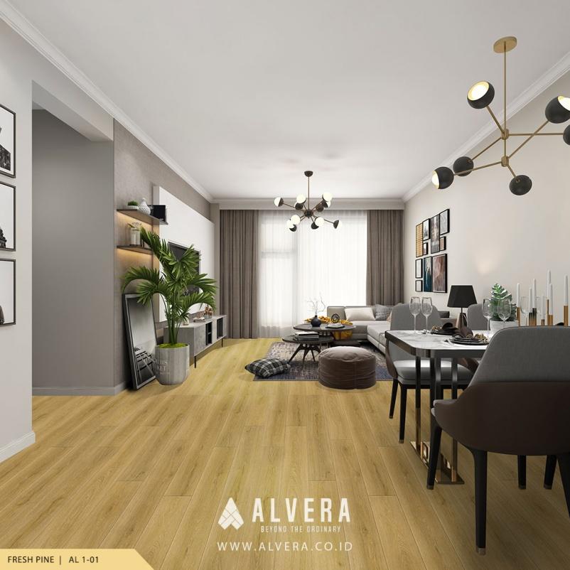 alvera fresh pine lantai vinyl motif kayu terang pada ruang keluarga