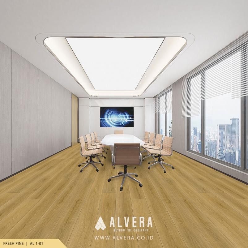 alvera fresh pine lantai vinyl motif kayu terang pada ruang meeting kantor