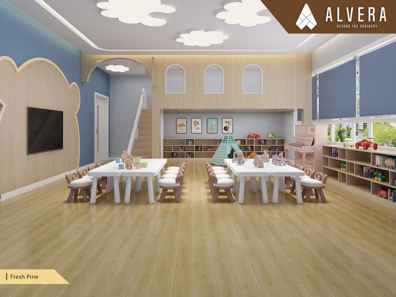 alvera fresh pine lantai vinyl motif kayu pada ruang bermain anak