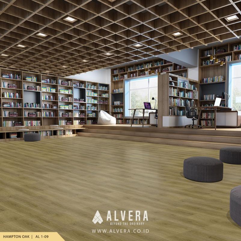 alvera hampton oak vinyl lantai motif kayu untuk perpustakaan