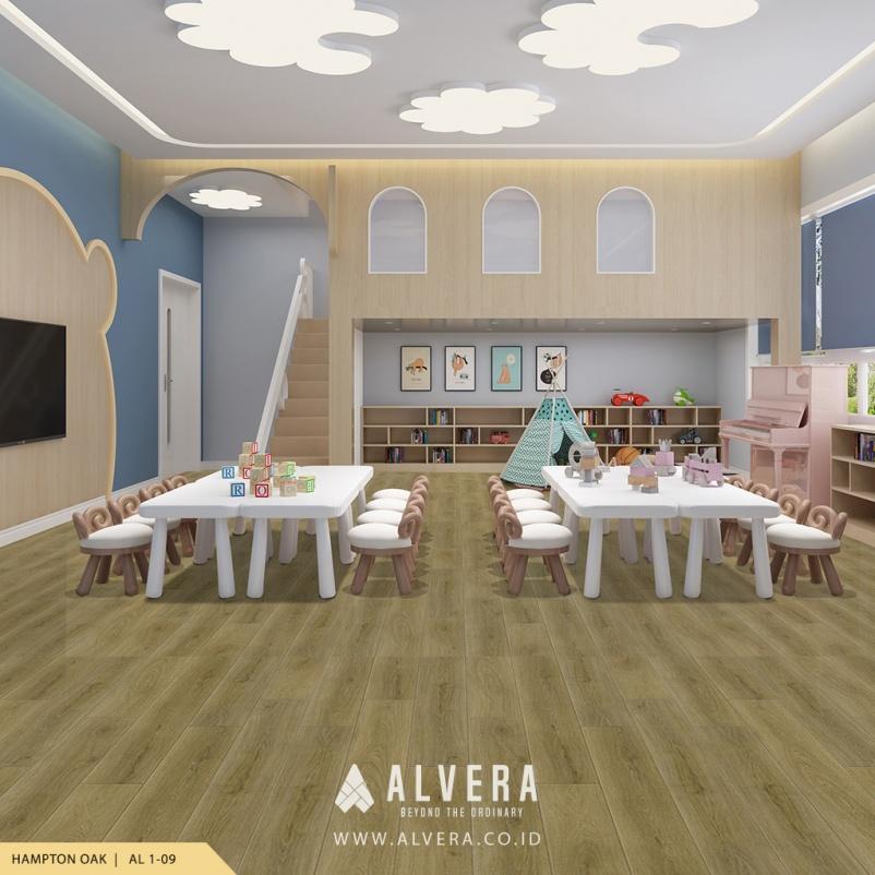 alvera hampton oak vinyl lantai motif kayu untuk ruang bermain