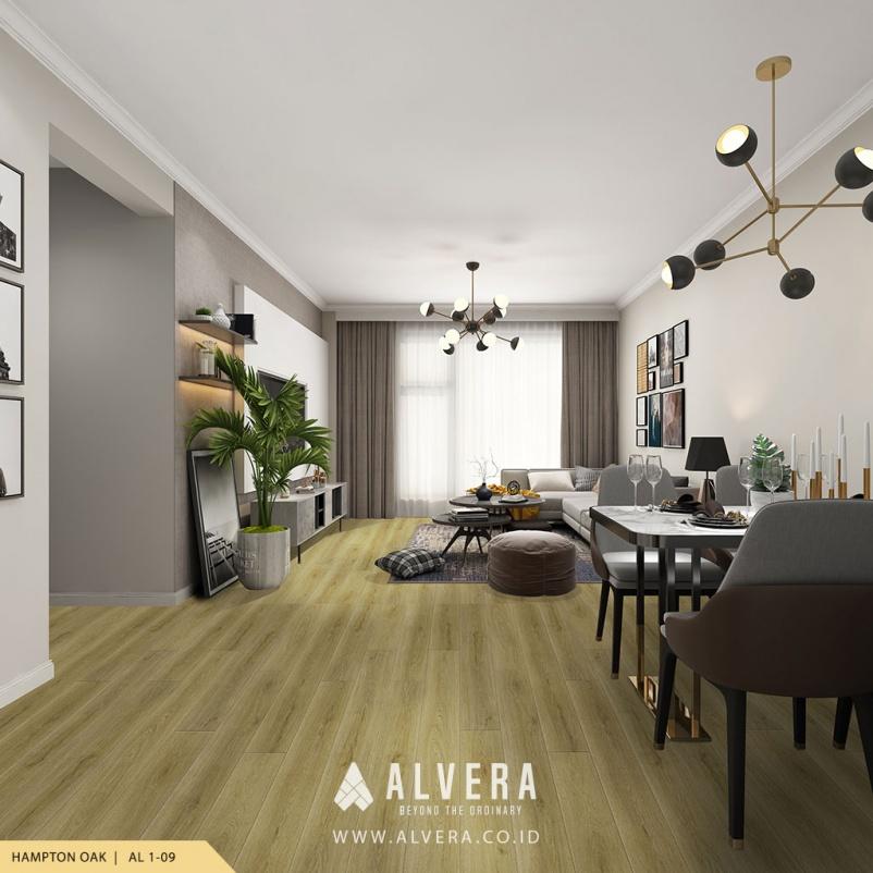 alvera hampton oak vinyl lantai motif kayu untuk ruang tamu