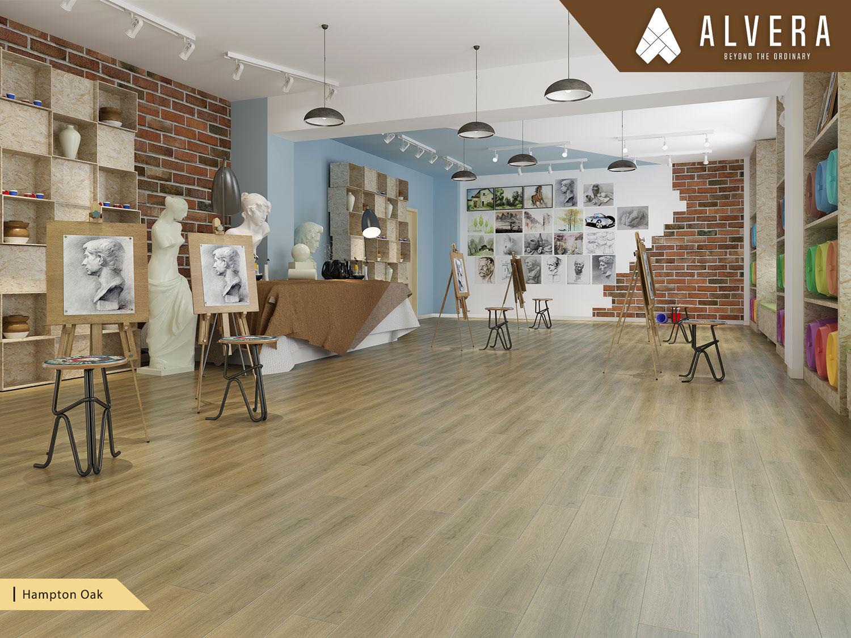 alvera hampton oak lantai vinyl motif kayu pada studio
