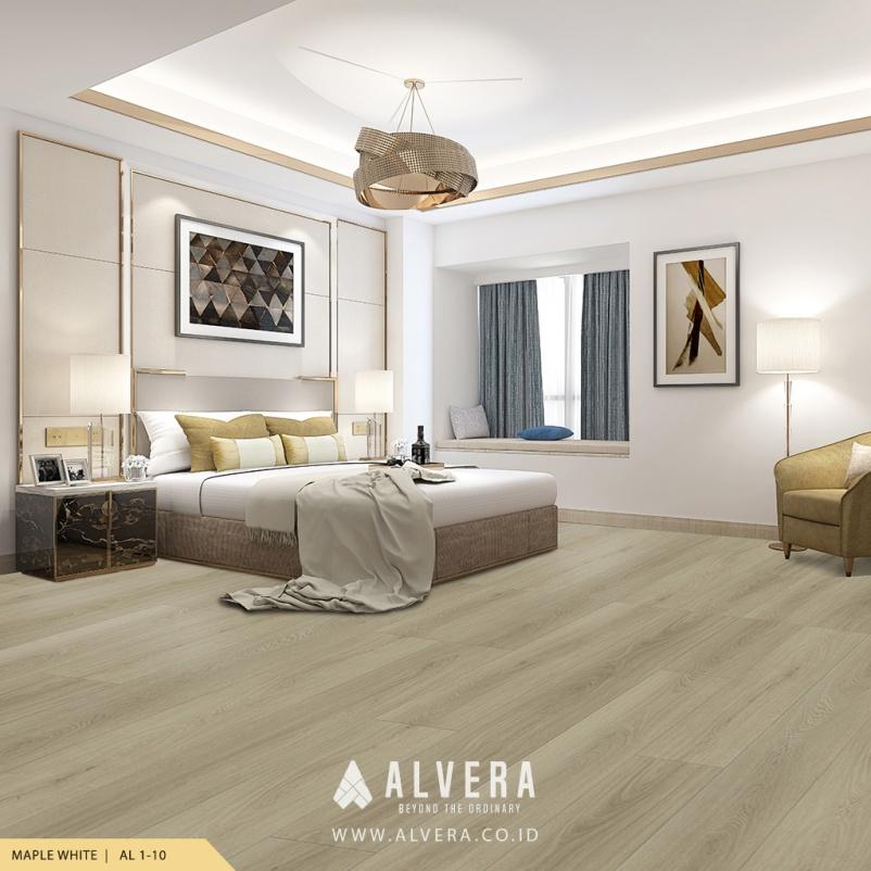 alvera maple white lantai vinyl warna putih untuk kamar tidur