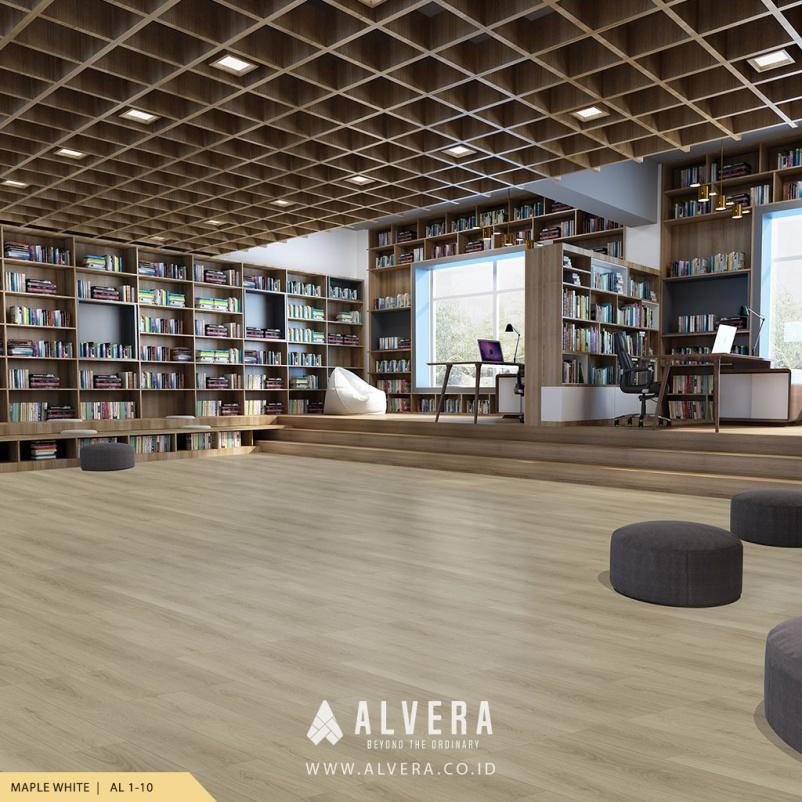 alvera maple white lantai vinyl mirip kayu warna putih untuk perpustakaan