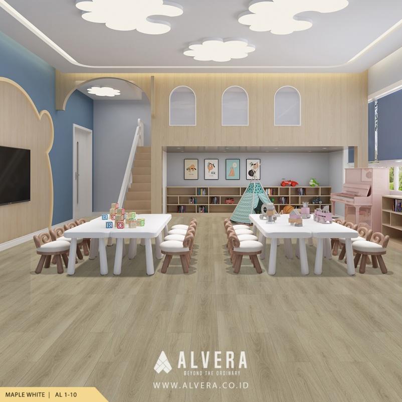alvera maple white lantai vinyl warna putih untuk ruang bermain