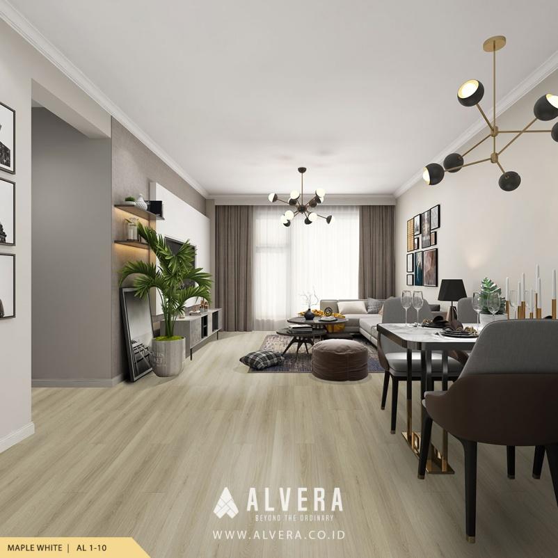 alvera maple white lantai kayu vinyl warna putih untuk ruang tamu