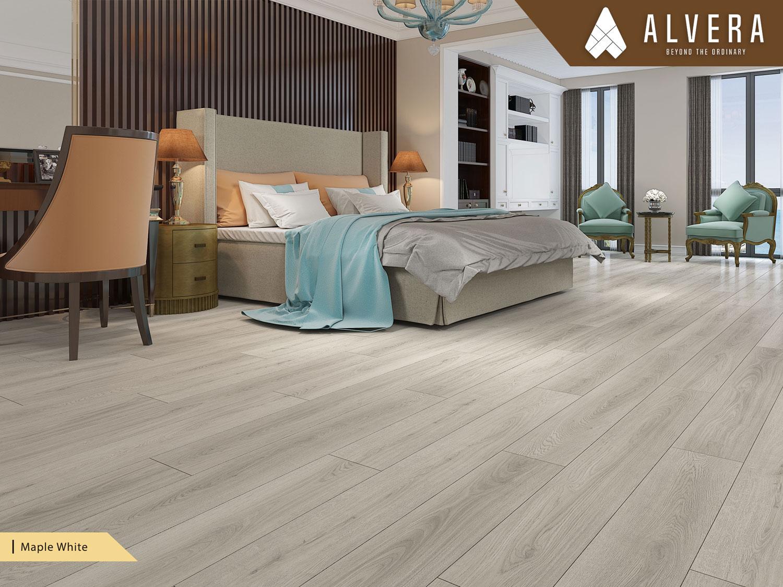 alvera maple white lantai vinyl motif kayu pada kamar tidur