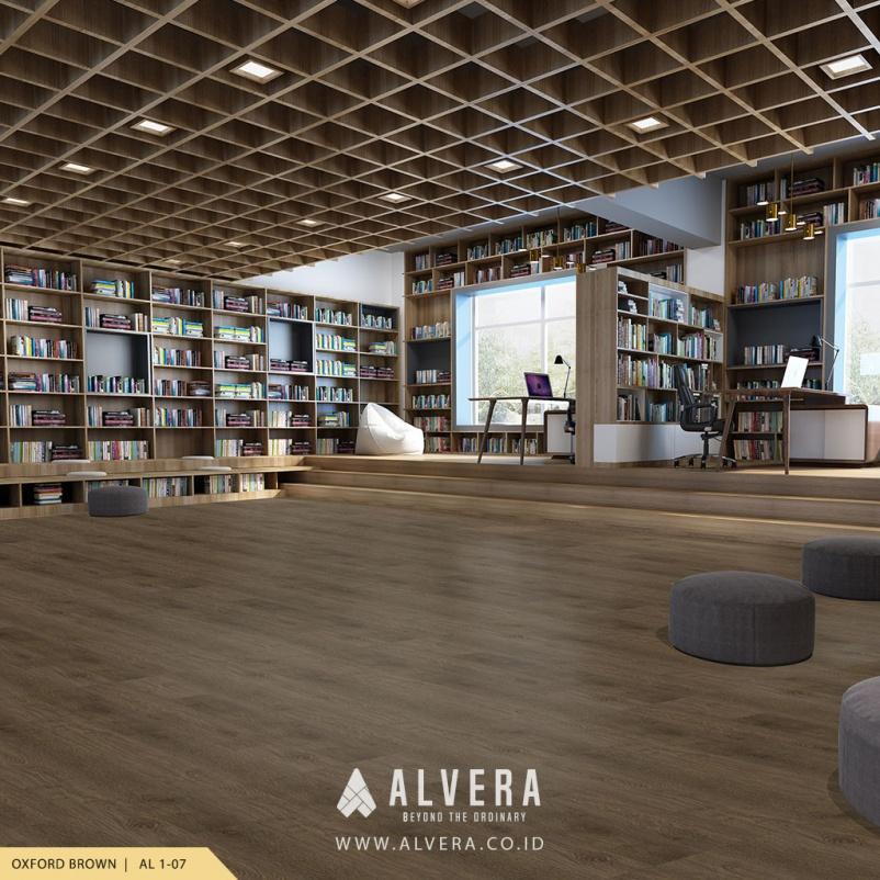 alvera oxford brown lantai vinyl warna gelap untuk perpustakaan