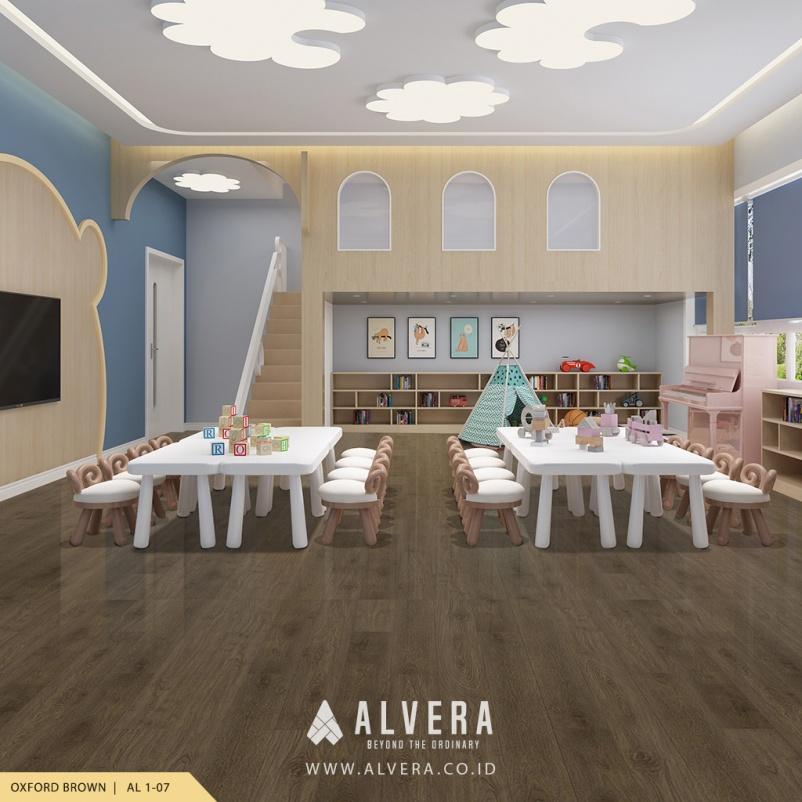alvera oxford brown lantai vinyl warna gelap untuk ruang bermain