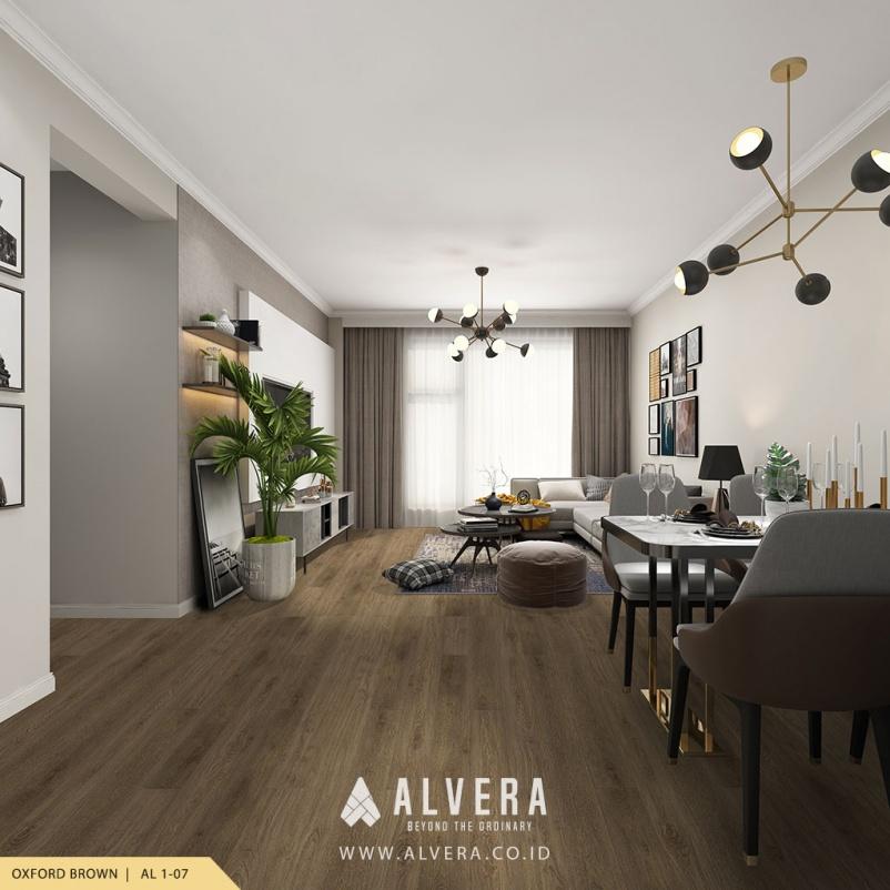 alvera oxford brown lantai vinyl warna gelap untuk ruang tamu