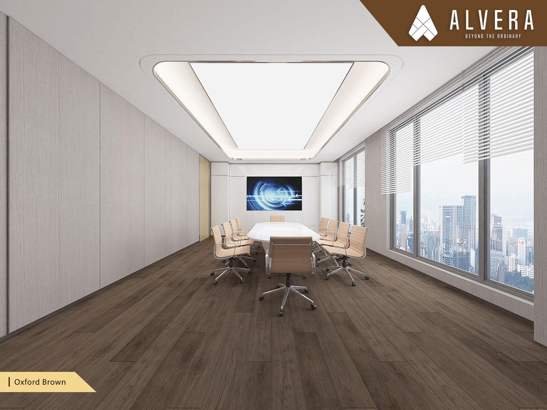 alvera oxford brown lantai vinyl motif kayu pada ruang meeting kantor