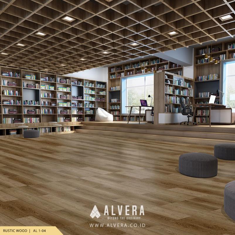 alvera rustic wood lantai vinyl kayu untuk perpustakaan