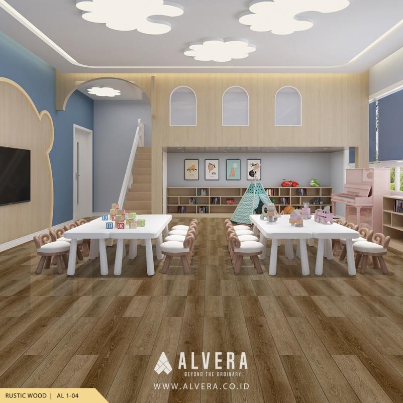 alvera rustic wood lantai vinyl kayu untuk ruang bermain