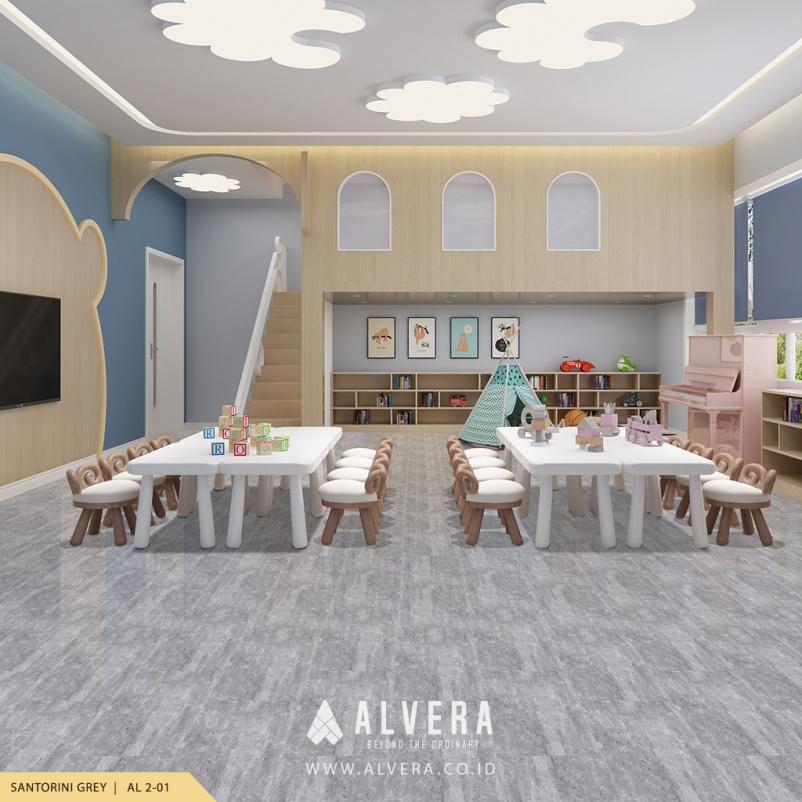 alvera santorini grey lantai vinyl motif batu alam abu-abu untuk ruang bermain