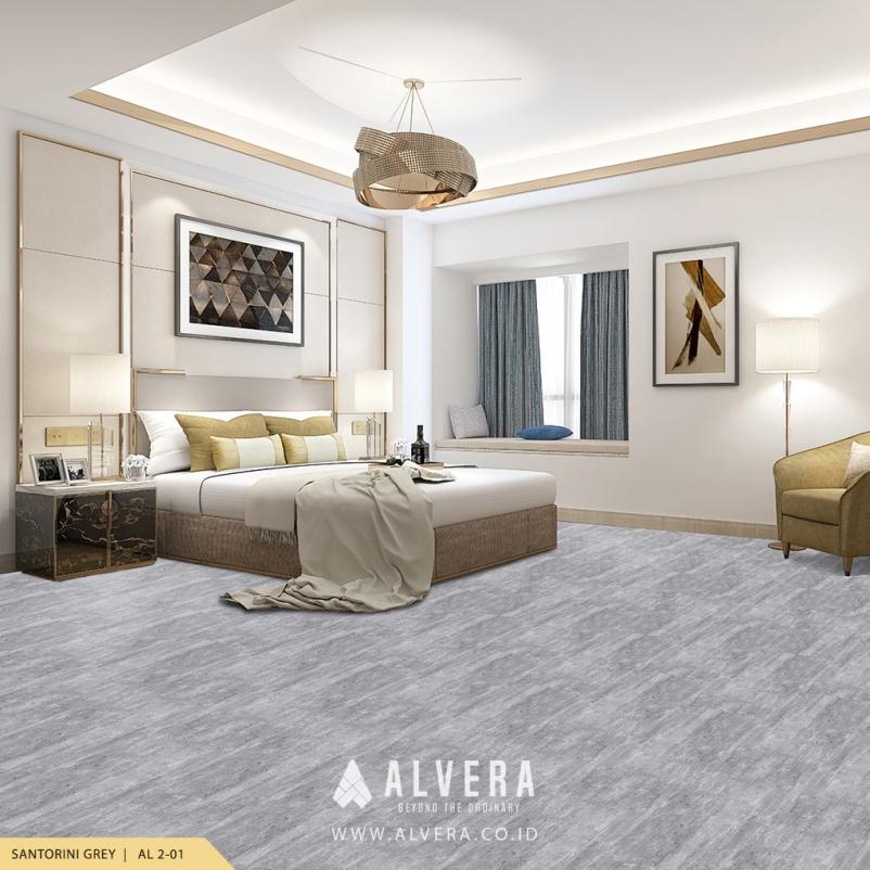 alvera santorini grey lantai vinyl motif batu alam abu-abu untuk kamar tidur
