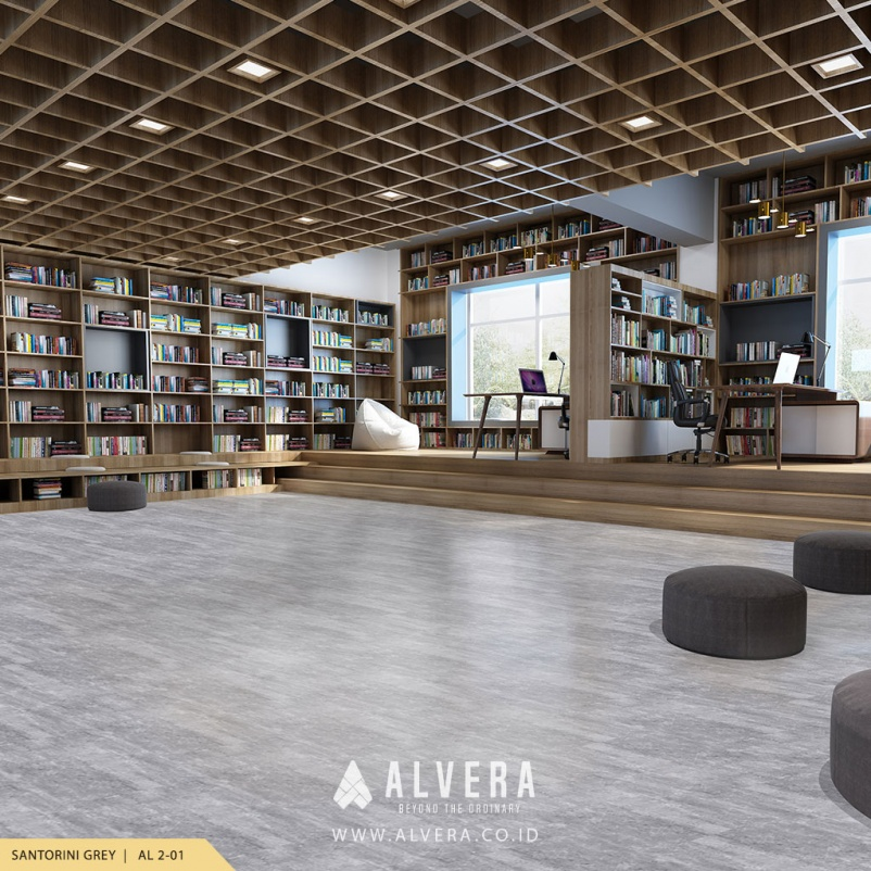 alvera santorini grey lantai vinyl motif batu alam abu-abu untuk perpustakaan