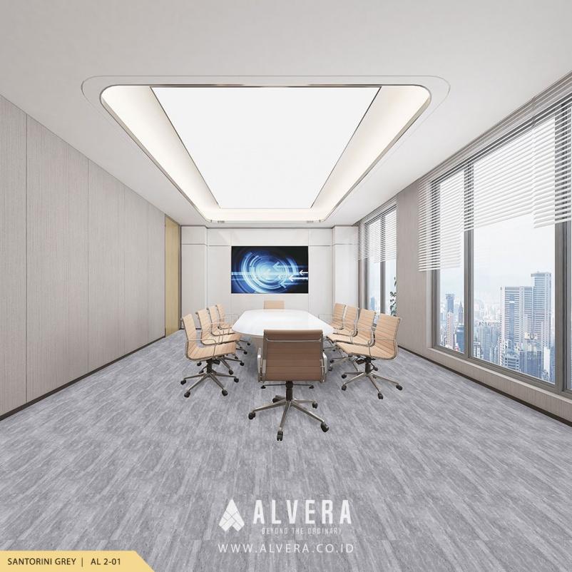alvera santorini grey lantai vinyl motif batu alam abu-abu untuk ruang meeting