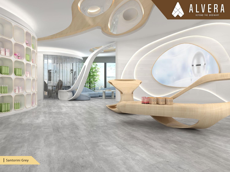 alvera santorini grey lantai vinyl motif batu alam keramik pada lounge ruang tunggu lobby