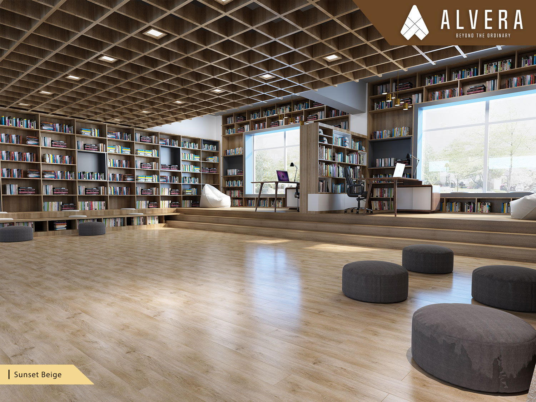 alvera sunset beige lantai vinyl motif kayu pada perpustakaan