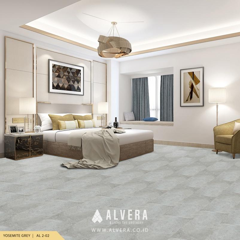alvera yosemite grey lantai vinyl motif keramik abu-abu untuk kamar tidur