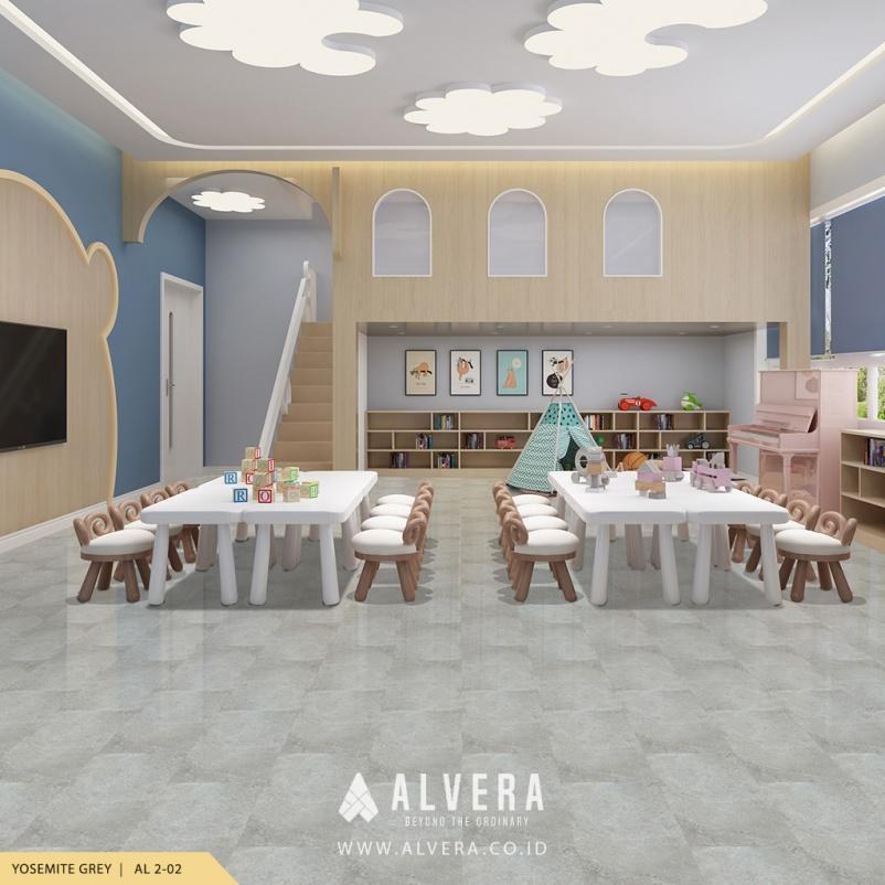 alvera yosemite grey lantai vinyl motif keramik abu-abu untuk ruang bermain
