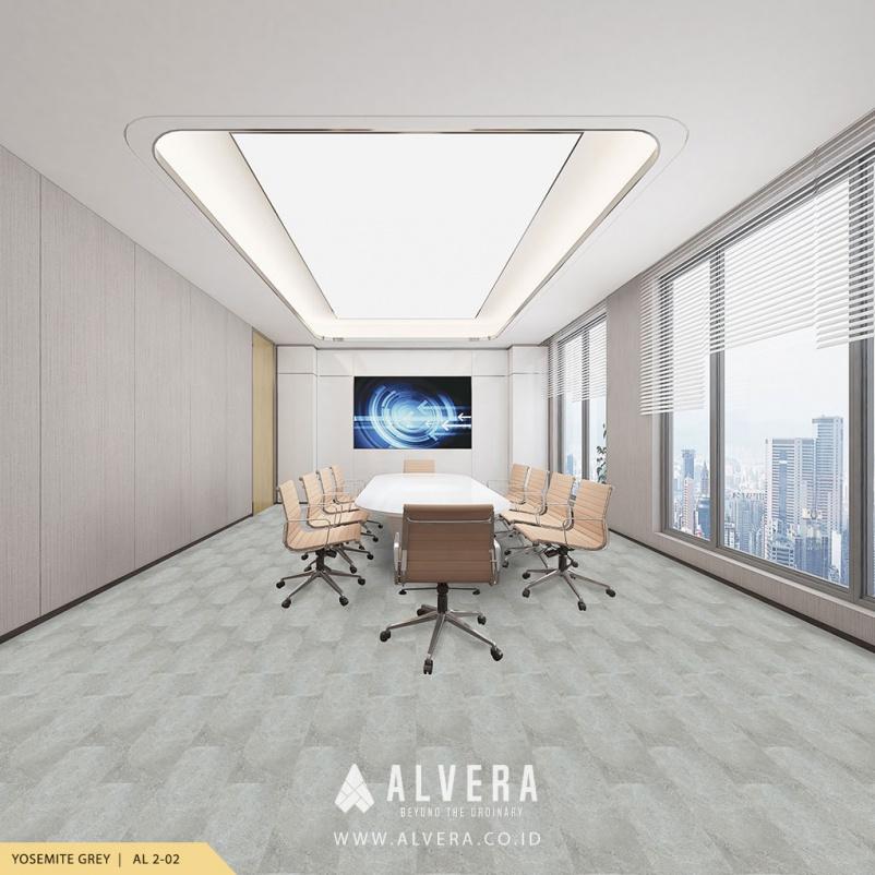 alvera yosemite grey lantai vinyl motif keramik abu-abu untuk ruang meeting