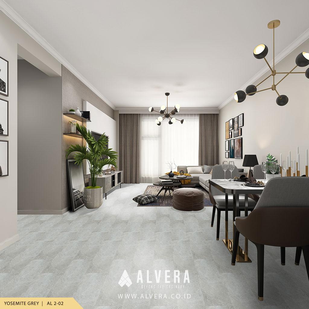 alvera yosemite grey lantai vinyl motif keramik abu-abu untuk ruang tamu